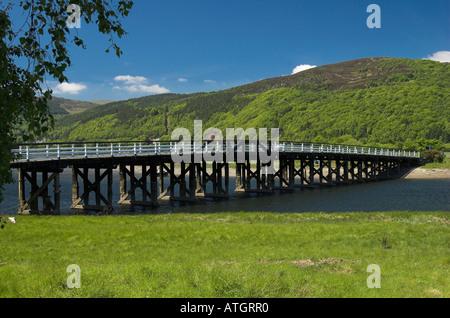 Penmaenpool toll bridge across the Mawddach river near Barmouth, Gwynedd, North Wales - Stock Photo