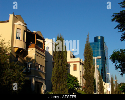 Typical architecture along Rothschild Boulevard in downtown Tel Aviv Israel - Stock Photo