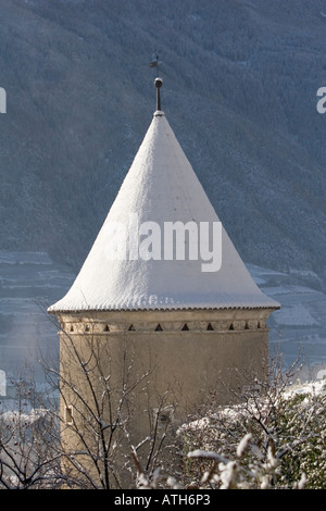 Tower of Rennaissance Castle Goldrain, Italy - Stock Photo