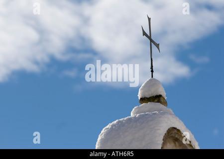 Church cross of Rennaissance Castle Goldrain, Italy - Stock Photo