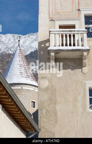 Rennaissance balcony of Castle Coldrano, Italy,  in winter. - Stock Photo