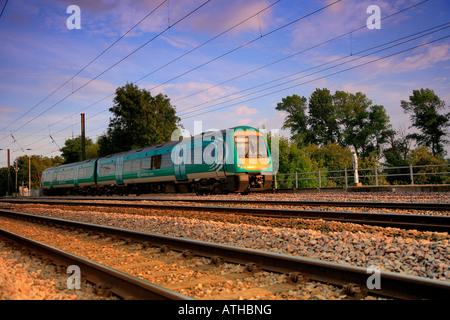 Central Unit 170112 Turbostar heads south at Lolham Peterborough ECM Line England UK Europe ECML - Stock Photo