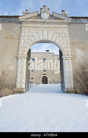 Main entrance to the Rennaissance castle of Schloss Goldrain, Italy - Stock Photo