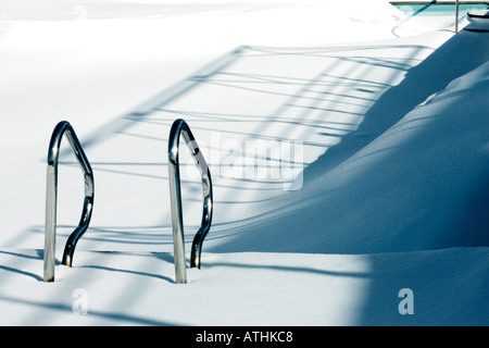 Deserted Winter Swimming Pool, Montreal, Canada - Stock Photo