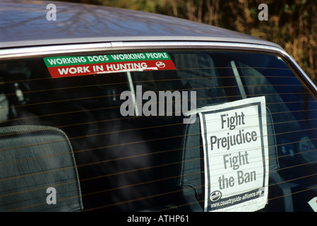 Countryside Alliance poster in car window. - Stock Photo