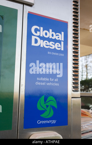 Global diesel containing 5 biodiesel for sale at Green Shop Bisley Gloucestershire UK - Stock Photo