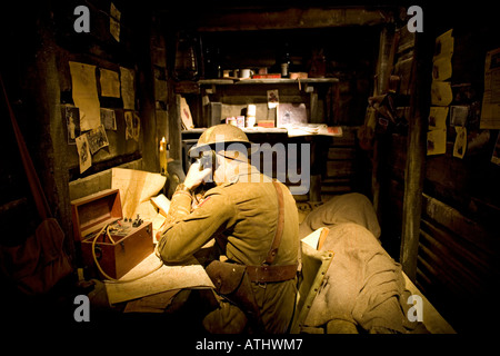 Recreation of a British WW1 trench at the Imperial War Museum in London - Stock Photo