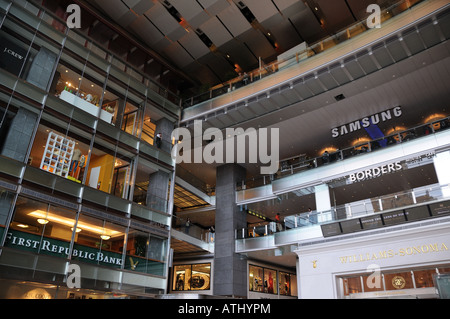 The main lobby of the Time Warner building at Columbus Circle in Manhattan. - Stock Photo