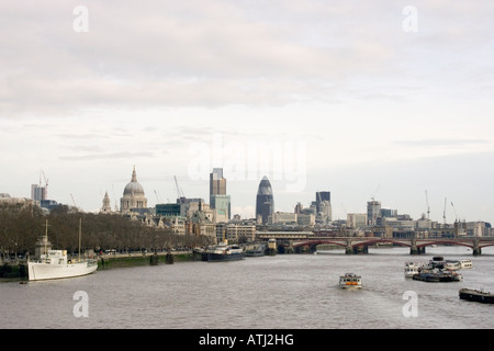 City of London landscape from Waterloo Bridge showing Thames river skyline including Saint Paul s Cathedral - Stock Photo