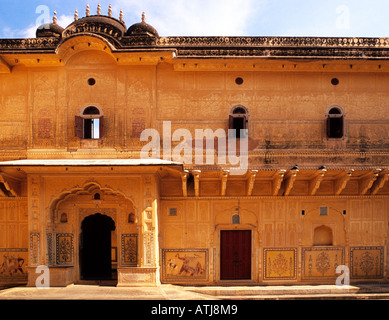 Interior courtyard of Madhavendra Bhawan, Nahargarh Fort, near Jaipur, Ragasthan, India - Stock Photo