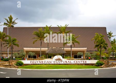 Polynesian Cultural Center entrance, Oahu, Hawaii - Stock Photo