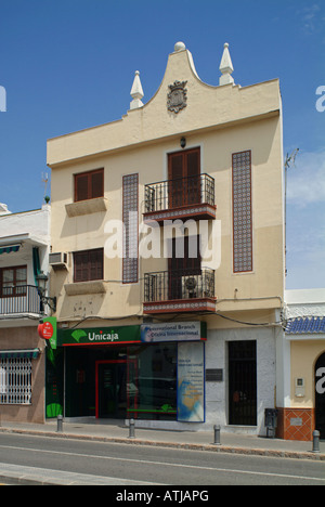 Nerja. Old house with moorish influence in the streets of Nerja. Costa del Sol. Province of Malaga. Andalusia. Spain. - Stock Photo