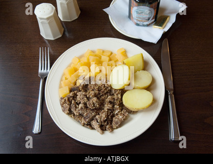 Haggis, potatoes and turnips. Regarded as the National dish of Scotland, UK - Stock Photo