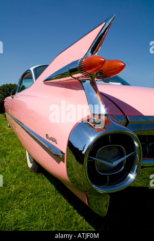 The tail fin of the classic American automobile the 1959 Cadillac Coupe de Ville - Stock Photo