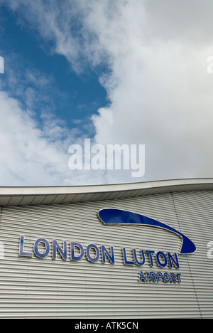 London Luton airport sign on the side of the new terminal building. - Stock Photo