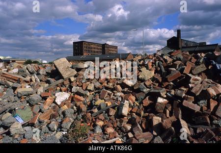 derelict industrial land Leeds Yorkshire UK - Stock Photo