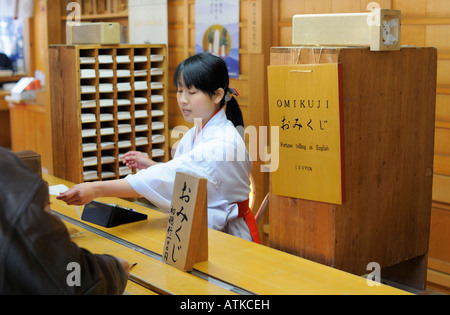 Omikuji Fortune Telling at a Shinto shrine, Kamakura JP - Stock Photo