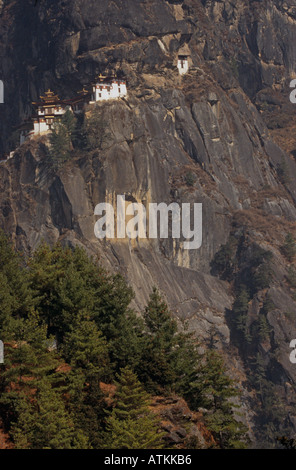 Paro Taktsang temple complex (Tiger's Nest) perched on cliff face above Paro Valley, Bhutan, South Asia - Stock Photo