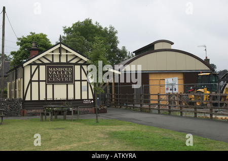 Former Leek and Manifold Railway buildings at Hulme End, Staffordshire, England. - Stock Photo