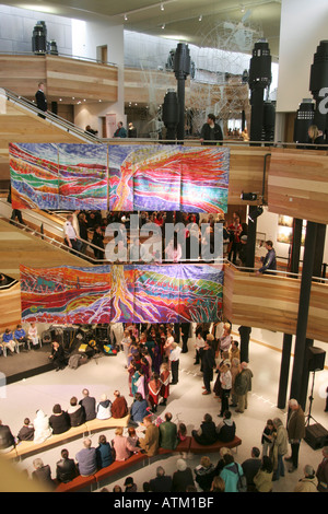 Musical Performance in the Foyer of the Wales Millennium Centre Cardiff Bay South Wales - Stock Photo