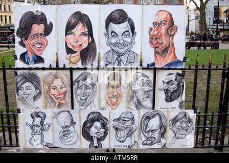 Caricatures of famous people in Leicester Square London England UK - Stock Photo