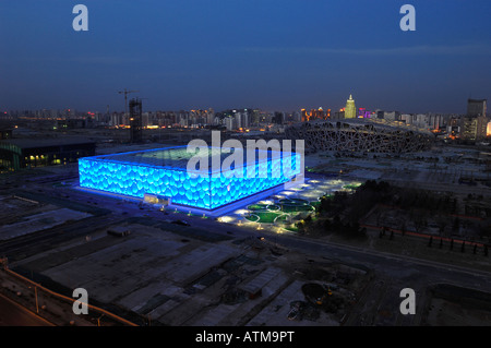 National Swimming Centre and National Stadium for the Beijing 2008 Olympic Games.  29-Feb-2008 - Stock Photo