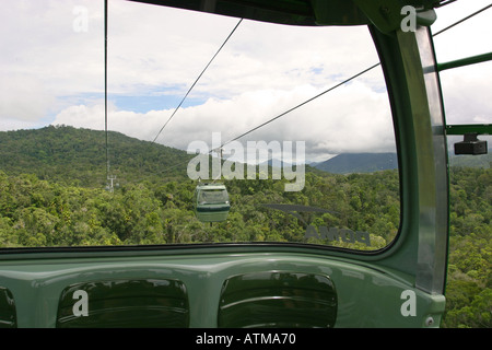 Lush green rainforest canopy viewed through a gondolar window on the Skyrail cablecar Cairns Queensland Australia - Stock Photo