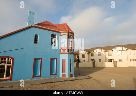 The Blue House on Berg Street in Luderitz Namibia - Stock Photo