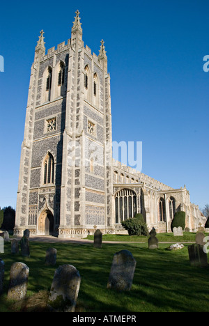 Long Melford, Suffolk, UK. Holy Trinity Church. The tower, added in 1903 to the 15c nave - Stock Photo