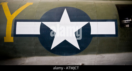 USAF Insignia on a Boeing B-17G Flying Fortress, Imperial War Museum Duxford - Stock Photo