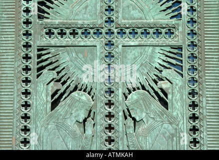 Metal Doors; Angels praying in metal copper or bronze mausoleum doors worn and weathered by time. - & Bronze Mausoleum doors Stock Photo Royalty Free Image: 133177084 ... Pezcame.Com