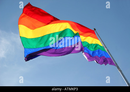 Rainbow flag flying in the wind - Stock Photo