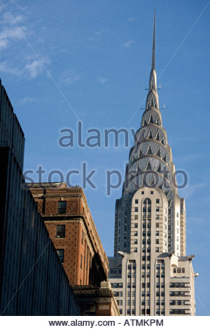 the Chrysler Building in New York USA seen from 42nd street and 5th avenue - Stock Photo