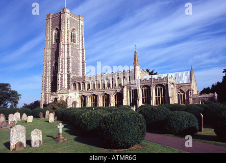 Lavenham is a medieval village in Suffolk, England famous for its impressive Fifteenth Century church - Stock Photo