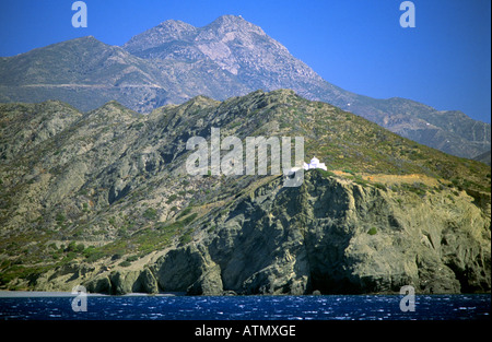 View of Karpathos Island Mountains and Coastline Greece Europe - Stock Photo