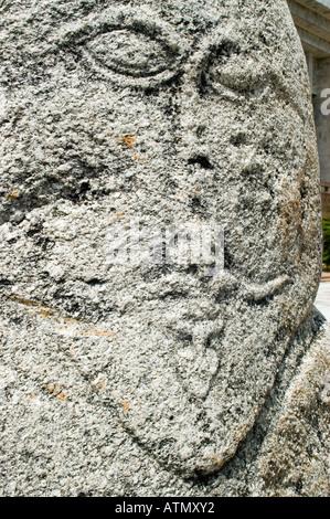 historic grave stone balbal in Balasagun silk road Kyrgyzstan - Stock Photo