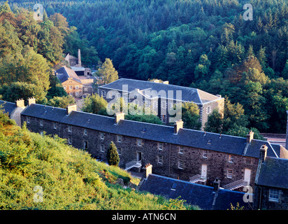 New Lanark early water powered cotton mills and industrial village on the River Clyde, Scotland. Founded 1786 by - Stock Photo
