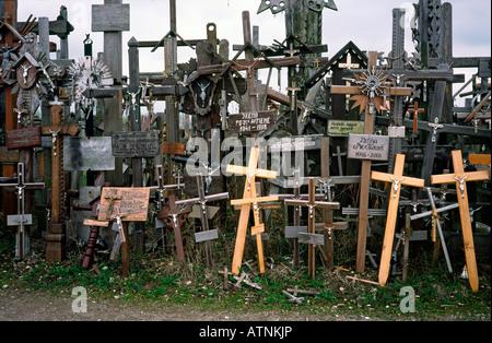 April 22, 2004 - Kryziu Kalnas (the Hill of Crosses) near Siauliai in Lithuania. - Stock Photo