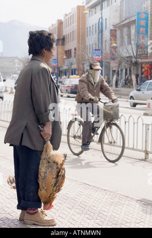 China, Chinese Man Carrying Chickens Home From Market, Lijiang, Yunnan Province - Stock Photo