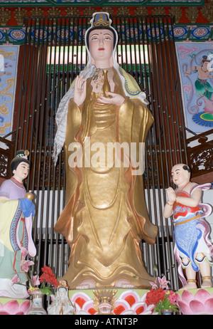 China, Guanyin Statue Inside The Mirror Pavilion, Tian Jing Ge, Erhai Lake, near Dali, Yunnan Province - Stock Photo