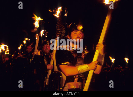 UK Scotland SHETLAND ISLANDS Up Helly Aa Viking mid-Winter Celebration January 2005 - Stock Photo