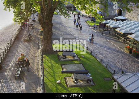 [North Embankment] of [River Thames] outside [Tower of London] UK - Stock Photo