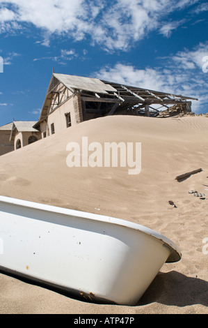 Kolmanskop the abandoned ghost town in the Namib Desert - Stock Photo