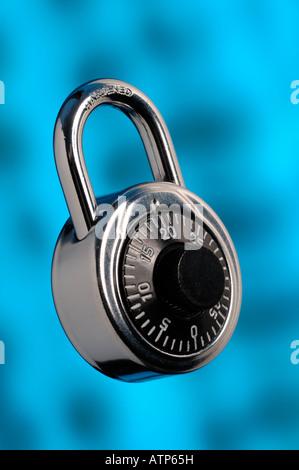 Chrome combination padlock - Stock Photo