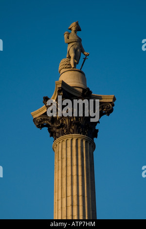 Lord Nelson atop of the column in Trafalgar Square, central London, UK - Stock Photo