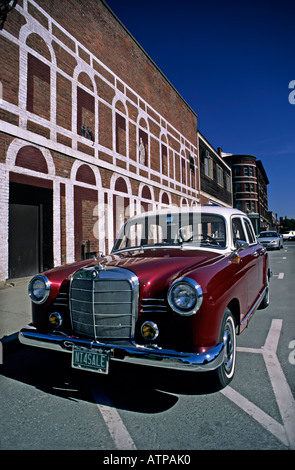Classic Mercedes car in street with not for sale number plate St Johnsbury Vermont USA - Stock Photo