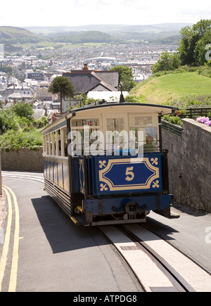 The Great Orme Tramway going downhill into Llandudno Wales UK - Stock Photo