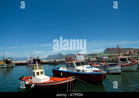 Fish Hoek harbour with fishing boats on the False Bay coast of Cape Peninusula near Cape Town South Africa - Stock Photo