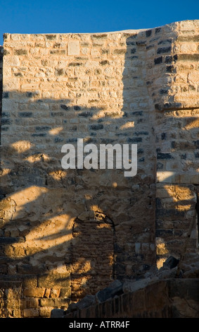 Shadows of the noria, ancient waterwheels, fall on the brickwork of the ancient aquaduct, Hama, Syria, Middle East. - Stock Photo