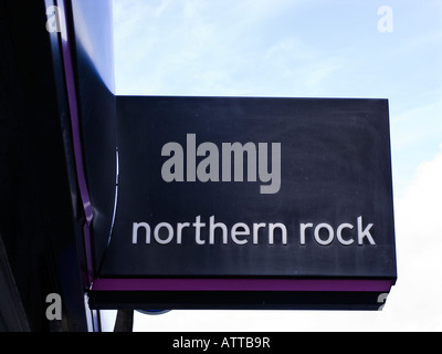 northern rock sign above bank branch - Stock Photo
